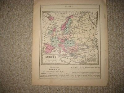 Antique 1868 Europe Handcolored Map Russia Prussia Germany Austria Italy Fine Nr