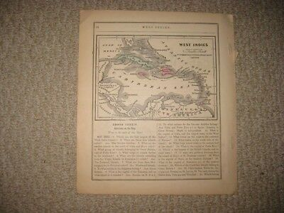Antique 1868 West Indies Hancolored Map Cuba Puerto Rico Jamaica Bahamas Fine