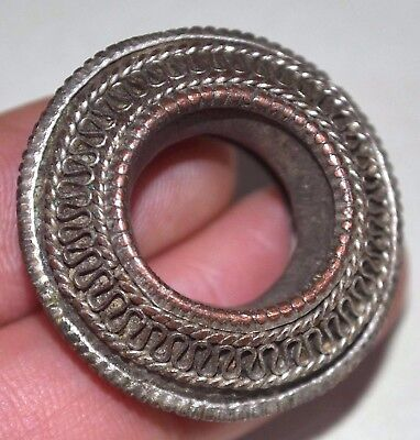 Antique Ethiopian Electroplated Metal Fancy Ring Ethiopia Africa Ring Size 1 1/2