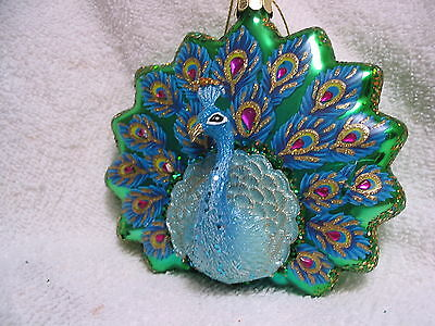 Peacock Tropical Bird Glass Ornament - Fanned Tail Feathers NEW