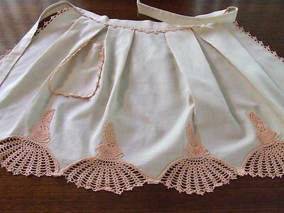 Pretty Ladies Apron with a Border of Hand Crocheted Crinoline Ladies - Unused