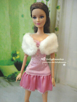 Doll Dress ~ Barbie Pink Dress White Fur Shawl Party Clothes Outfit #D-1804 NEW