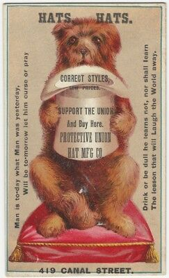 1880s Protective Union Hat Company Dog & Hat Victorian Trade Card