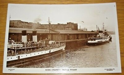 River Steamers, Bridge Wharf, Glasgow. Ralston Series RC1. Real photo postcard