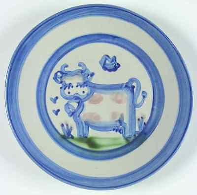 M A Hadley COUNTRY SCENE BLUE Cow Salad Dessert Plate 5757487