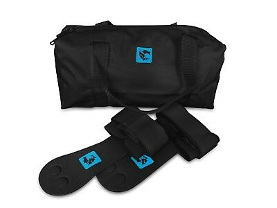 gymadvisor junior black leather gymnastic palm hand guards + black kit bag
