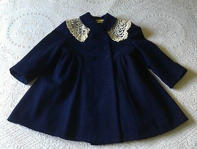 Vintage Children's Bambury Navy Blue Wool Coat w/ Lace Collar