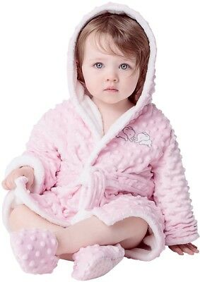 Toddler Girls Plush Robe Slipper Set Pink Size 9 12 Months Hooded NWT
