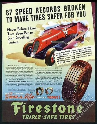 1937 Ab Jenkins Mormon Meteor speed car art Firestone tires vintage print ad