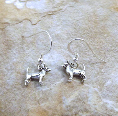 Sterling Silver Small Chihuahua Charms on Silver Dangle Earrings - 3067
