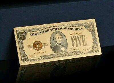 """<MINT> OLD STYLE """"GOLD"""" $5.00 GOLD CERTIFICATE Five DOLLAR Rep.*Banknote W/COA~"""