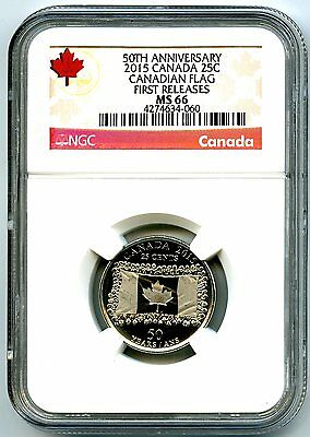 2015 Canada 25 Cent 50Th Anniversary Frosted Flag Ngc Ms67 First Releases Red
