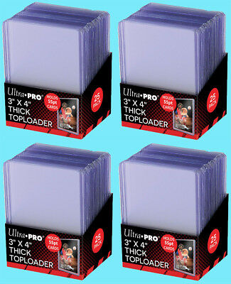 100 Ultra Pro 3x4 55PT THICK TOPLOADERS Rigid Clear Standard Size Trading Card