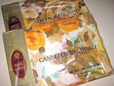 NIP Lot of 2 Vintage Floral Twin Size Flat & LOW Fitted SHEETS Made in USA