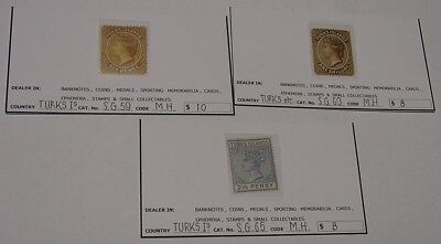 Turks & Caicos Islands, Queen Victoria issues, 3 different mint stamps.