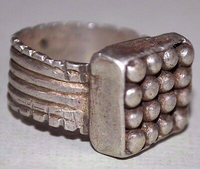 Antique Ethiopian Ethnic Coin Silver Metal Ring Ethiopia Africa, Ring Size 5 1/2