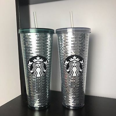 Starbucks Sequins 2017 Green & Silver - Lot of 2 Venti Tumbler Cups New Holiday