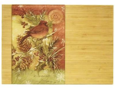 11x15 Christmas FROSTY NIGHT CARDINALS Glass & Bamboo Cutting Serving Board *NEW