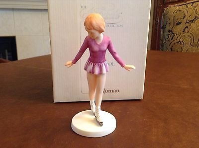 "Roman 1983 Ice Capades Ice School ""Girl Skater Purple Dress"" Figurine NIB Rare"