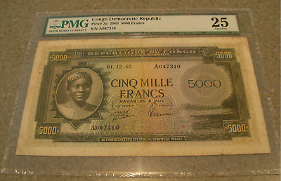Congo Democratic Republic 1963 5000 Francs PMG VF25 P3a VERY RARE NOTE