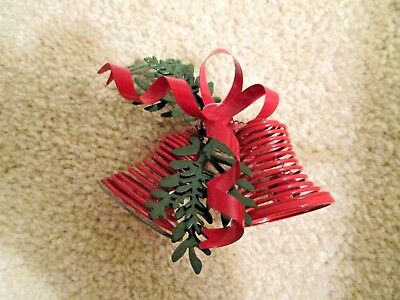 Old Vintage Antique Holiday Christmas Red Metal Bells Ornament Excellent