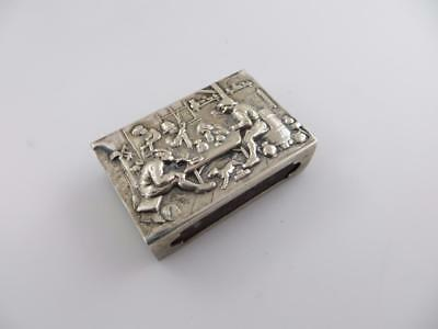 Tavern Scene Match Box Holder 800 Silver Germany