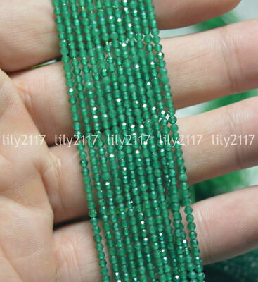 """Wholesale Natural 2mm Faceted Green Emerald Gemstone Round Loose Beads 15.5"""" AAA"""