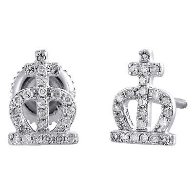 14K White Gold Genuine Diamond Crown Cross Studs 9mm Statement Earrings 1/6 CT.