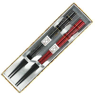 2 Pairs Japanese Lacquer Chopsticks Gift Set Red & Black Floral/ Made in Japan