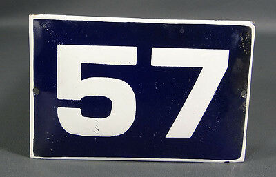 Wwii German Door House Street Porcelain Enamel Tin Sign Plate Plaque Number #57
