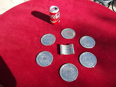 Ianthe Of England Siver Plated Coaster 6 + Rack / Silver Plated Coaster / Plate