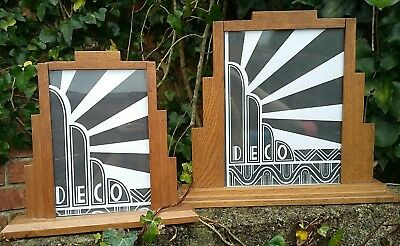 2 x RARE WOODEN  1930s ART DECO OAK STEP ODEON STYLE  PHOTO PICTURE FRAME.