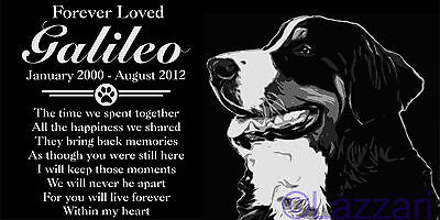 Personalized Bernese Mountain Dog Pet Memorial 12x6 Customized Granite Headstone