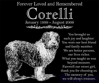 Personalized Old English Sheepdog Pet Memorial 12x10 Granite Grave Marker Stone