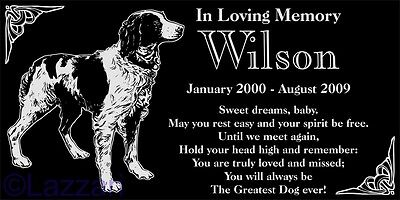 Personalized Brittany Pet Memorial 12x6 Engraved Granite Grave Marker Headstone