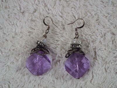 Sterling Silver Large Purple Crystal Pierced Earrings (C21)