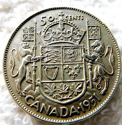 Low Price. Canada  Silver  50 Cents  1951  A15-110