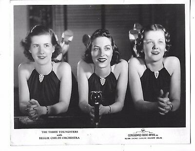 Vintage PRESS PHOTO Celebrity Singing Trio The Three Youngsters #8759