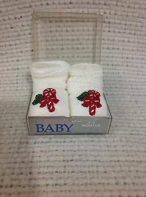 Vintage K Mart Christmas Baby Booties Candy Cane 0-3 months Made USA Case