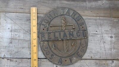 Old Sign Safe Makers Plate Badge Advert Metal plaque Iron John Tann Reliance