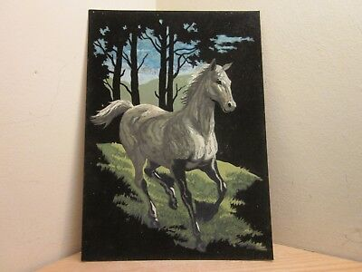 Vintage Velvet Paint By Number Horse Painting Pbn L@@k *free Shipping*