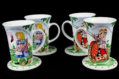 Alice in Wonderland's Teaparty Cafe by Cardew 2008 Mugs/Cups & Coasters Lot of 4