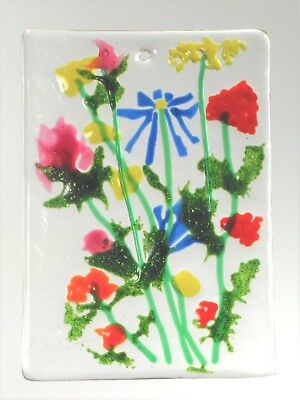 "FLOWER WINDOW,Wall Hanging,Kiln Fused Stained Glass 2.5 x 3.5""  ACEO Sun Catcher"