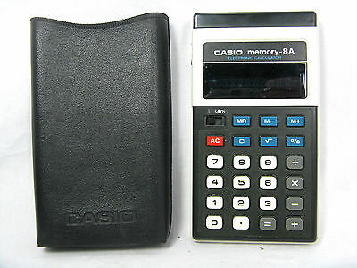 Rare 70´s vintage calculator Taschenrechner CASIO memory - 8 A  + case working