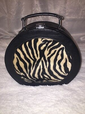 Cute Vtg Zebra Faux Fur Travel Makeup Train Case Wig Hat Box W/ Mirror