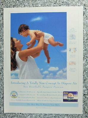 1996 Pampers Diapers - Magazine Ad Page - Mom and Cute Baby in Diaper