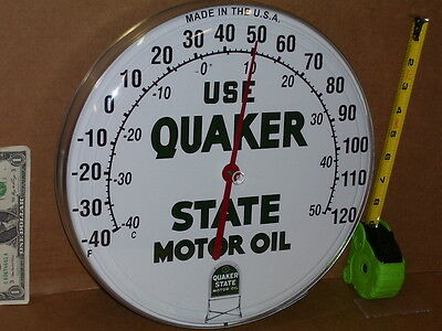 QUAKER STATE Motor Oil - GAS / GASOLINE -Filling Station THERMOMETER Made in USA