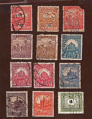 HUNGARY, 12 1900-53 Holy Crown of St. Stephen + Stamps, Used,  See Descr FUS592