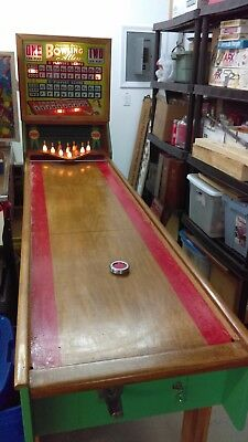Vintage 1950 Chicago Coins Bowling Alley 8' Puck Bowler With Lighted Pins Works