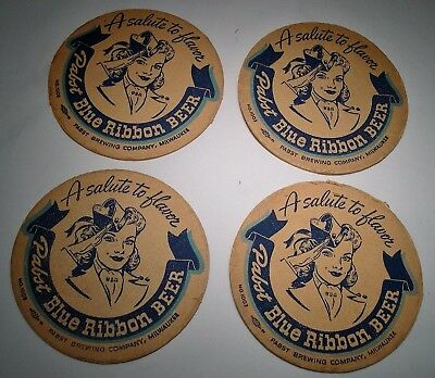 FOUR (4) PABST BLUE RIBBON BEER~Salute to Flavor VICTORY COASTERS~World War 2